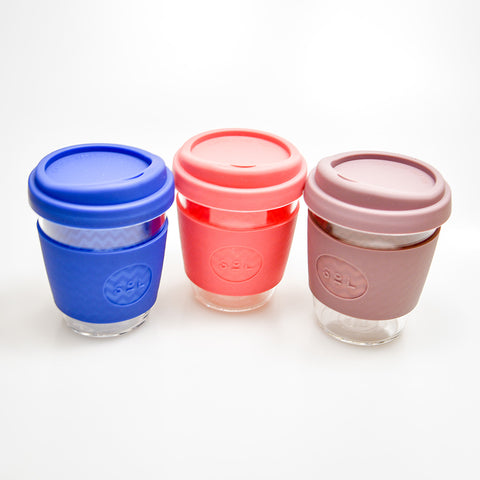 Reusable glass coffee cup - 12 oz