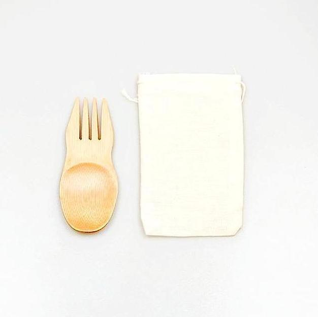 Bamboo Spork with Drawstring Pouch