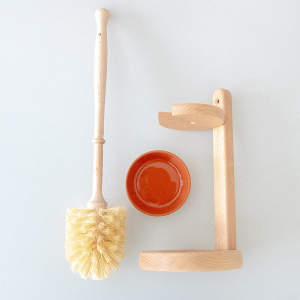Wooden Toilet Bowl Cleaning Brush With Stand