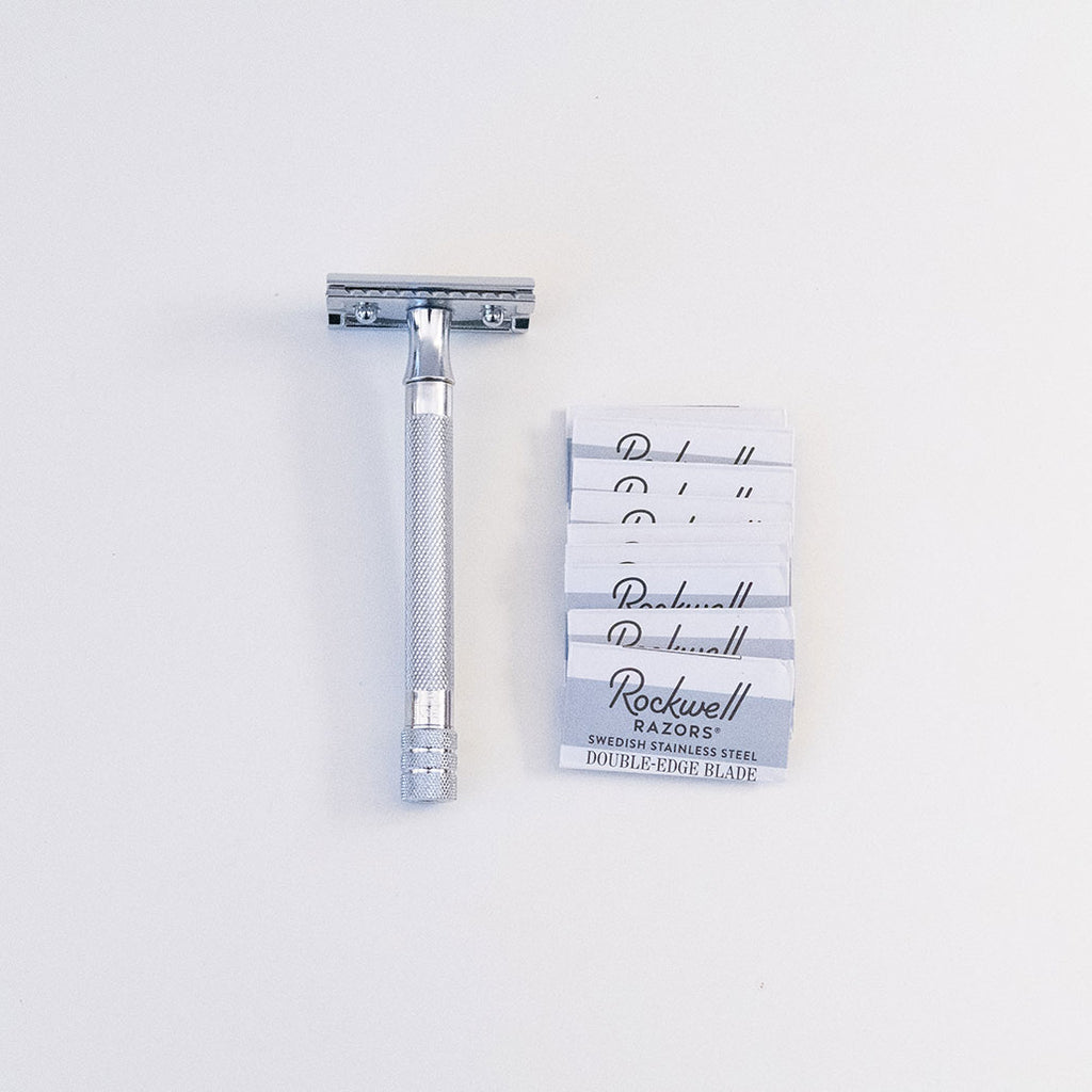 Double-Edged Safety Razor with Long Handle