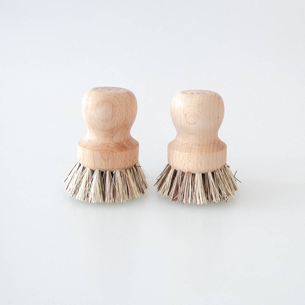 Wooden Pot Brushes - Set of 2