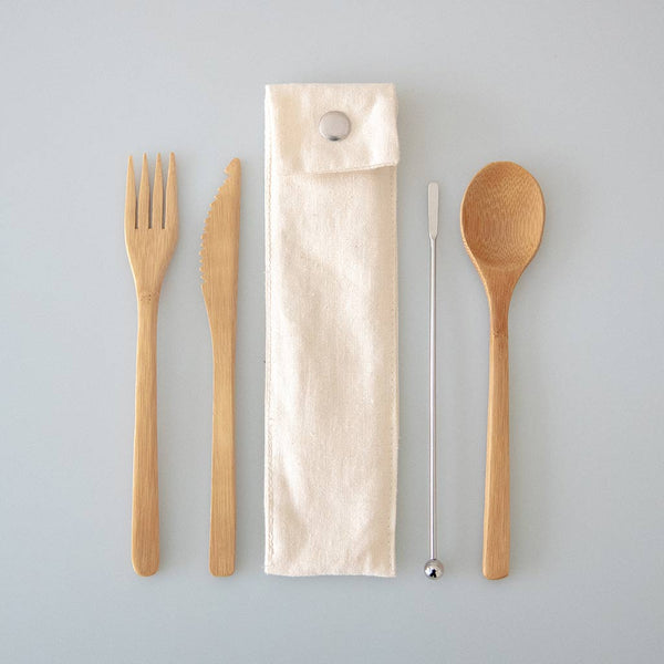 Bamboo Cutlery Set And Stirrer In Hand-made Pouch