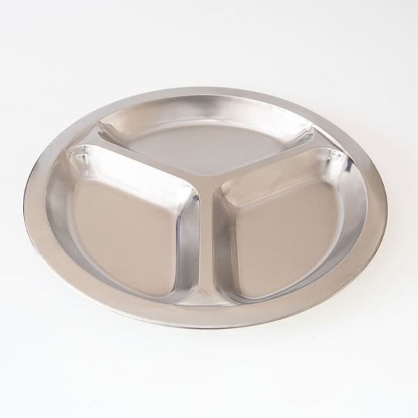 Stainless Steel Divided Dinner Tray for Kids/Camping/Outdoors