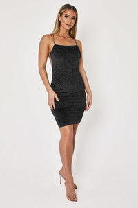 THIN STRAP SPARKLY VELVET MINI DRESS - BLACK