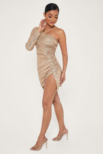 Load image into Gallery viewer, ONE SHOULDER SEQUIN MINI DRESS - GOLD