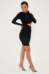 TWIST SIDE LONG SLEEVE SHIMMER DRESS - BLACK