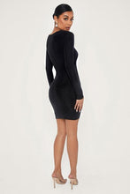 Load image into Gallery viewer, TWIST SIDE LONG SLEEVE SHIMMER DRESS - BLACK