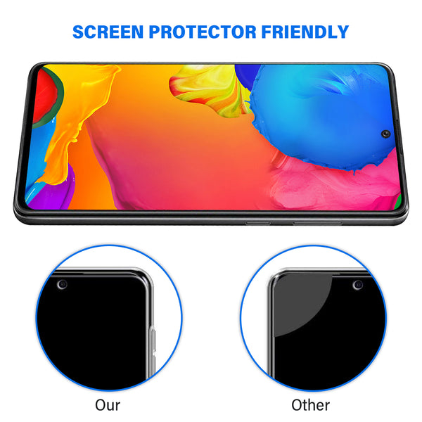 Samsung Galaxy A21s Tempered Glass Screen Protector Tough on with Black Frame