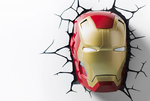 Marvel IRON MAN MASK LIGHT - 3D Deco Light with Crack Sticker