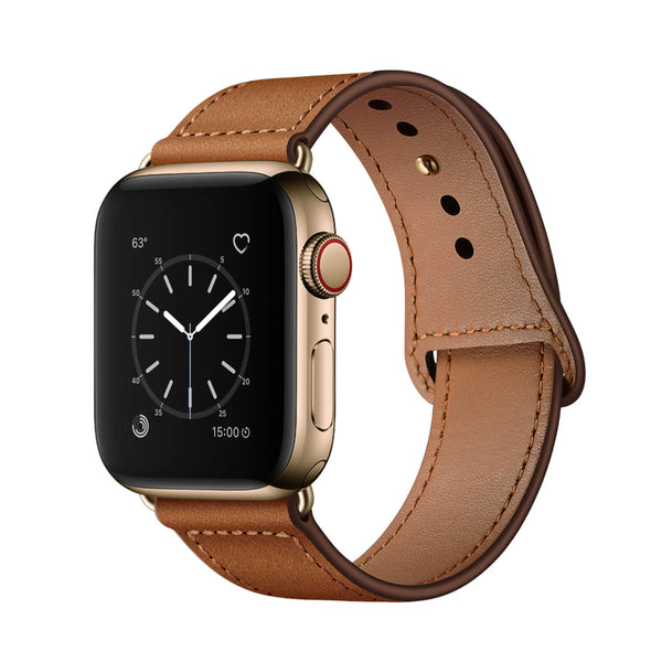Tough On Apple Watch Band 42-44mm Pin Buckle Leather Strap Retro Brown