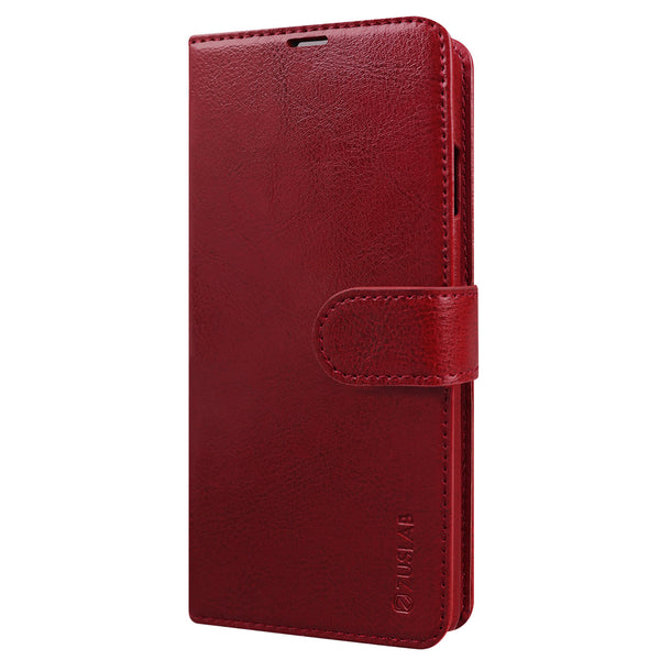 Samsung Galaxy Note 20 Case Tough on Leather Wallet Wine Red