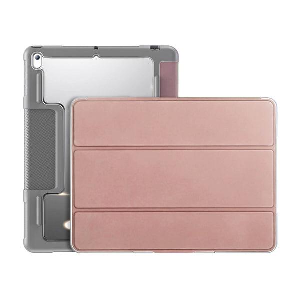 Tough On iPad 8 & 7th Gen 10.2 inch Case Smart Cover Rose Gold with Clear Back