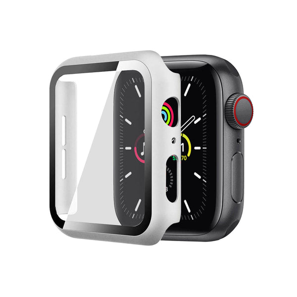 Apple Watch Case Tempered Glass Cover JX 44mm Silver