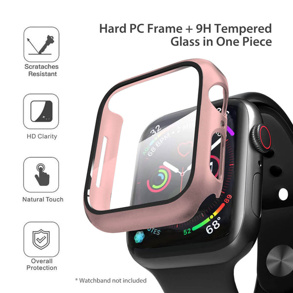 Apple Watch Case Tempered Glass Cover JX 44mm Rose Gold