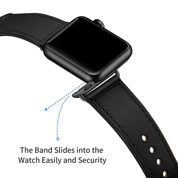 Tough On Apple Watch Band 38-40mm Pin Buckle Leather Strap Black