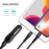 Tough on Car Charger with 1M USB-C to lightening Certified MFI Cable  [30W Dual USB Fast Charging]