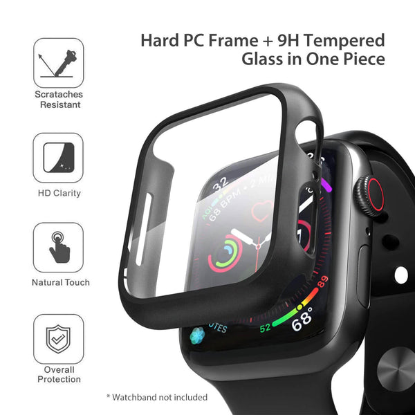 Apple Watch Case Tempered Glass Cover JX 44mm Black