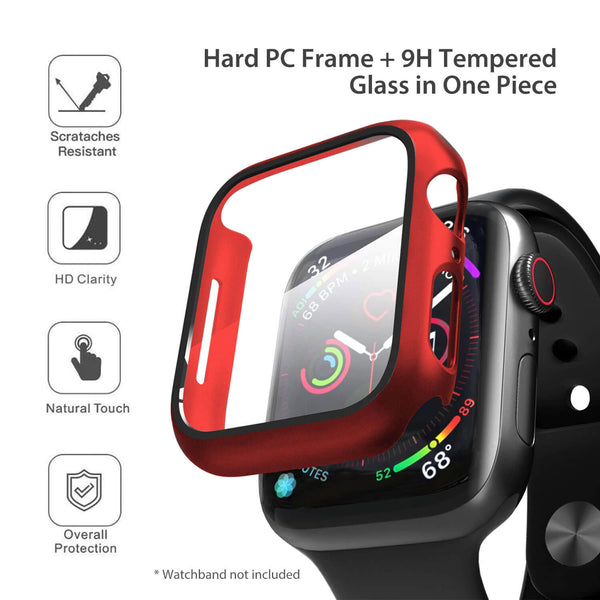 Apple Watch Case Tempered Glass Cover JX 44mm Red