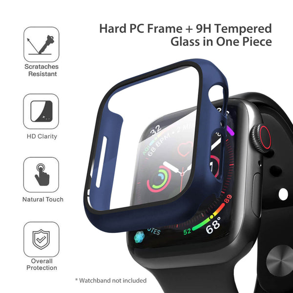 Apple Watch Case Tempered Glass Cover JX 44mm Blue