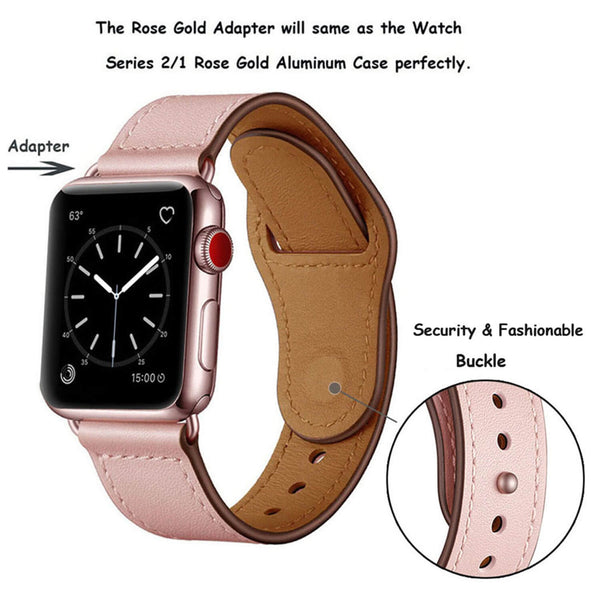 Tough On Apple Watch Band 42-44mm Pin Buckle Leather Strap Pink