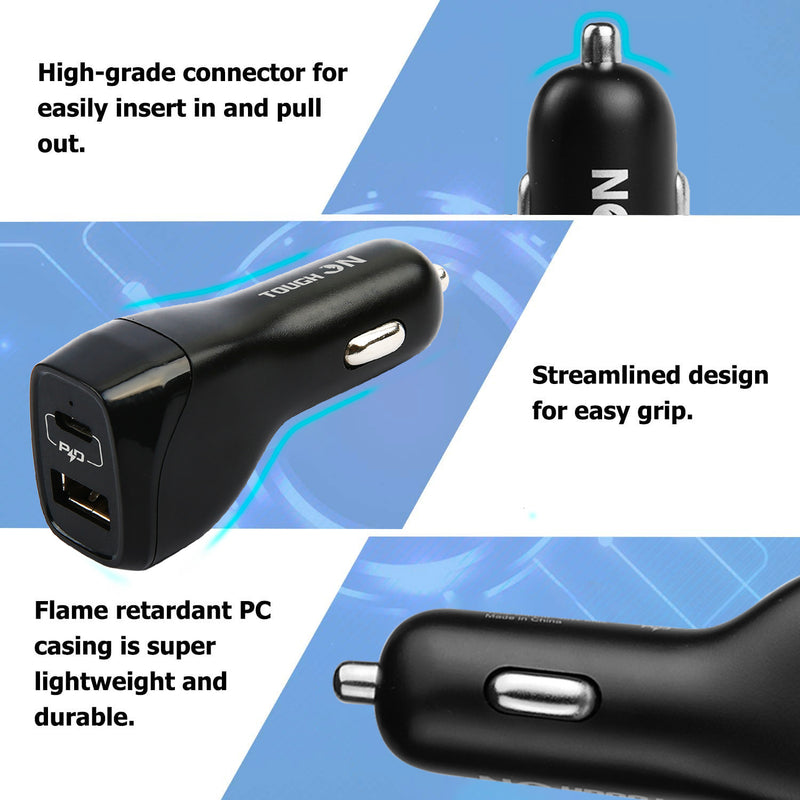 Tough on Car Charger with 1M USB-C to USB-C Cable [30W Dual USB Fast Charging]