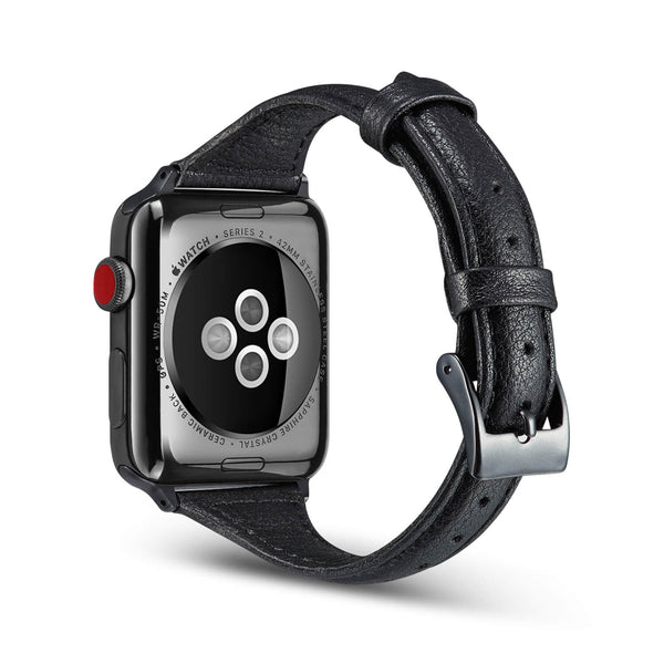 Tough On Apple Watch Band 42-44mm T Genuine Leather Band Black