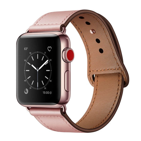 Tough On Apple Watch 42-44mm Pin Buckle Leather Strap Pink