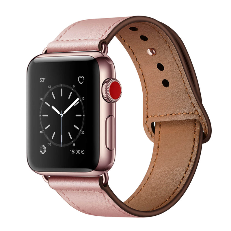 Tough On Apple Watch 38-40mm Pin Buckle Leather Strap Pink