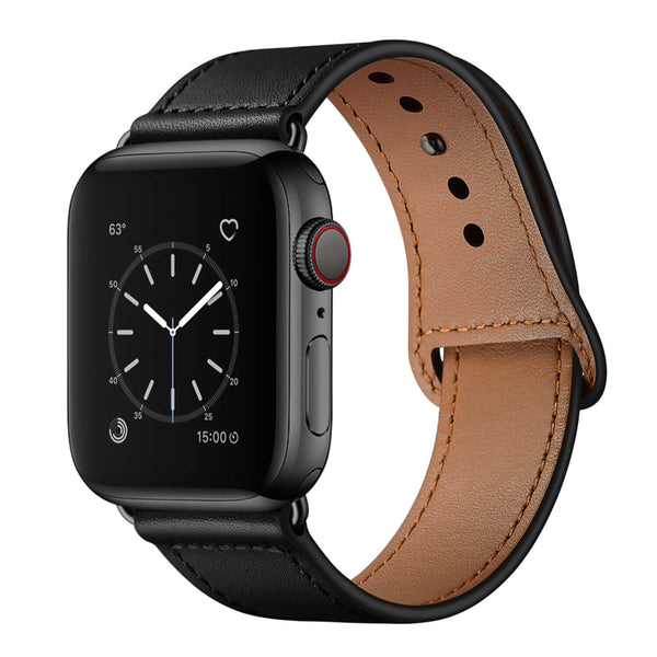 Tough On Apple Watch 42-44mm Pin Buckle Leather Strap Black