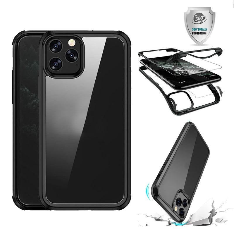 iPhone 12 Pro Max Case Tough On 360 Protection Tempered Glass Black