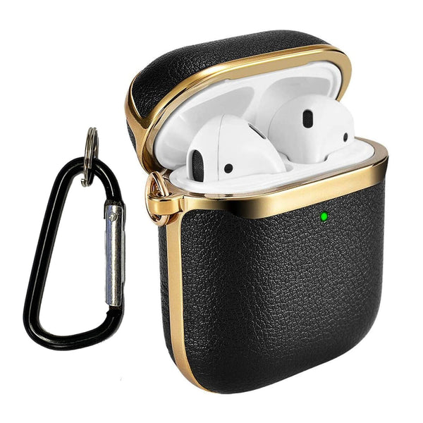 Apple AirPods Genuine Leather Case Tough On Black