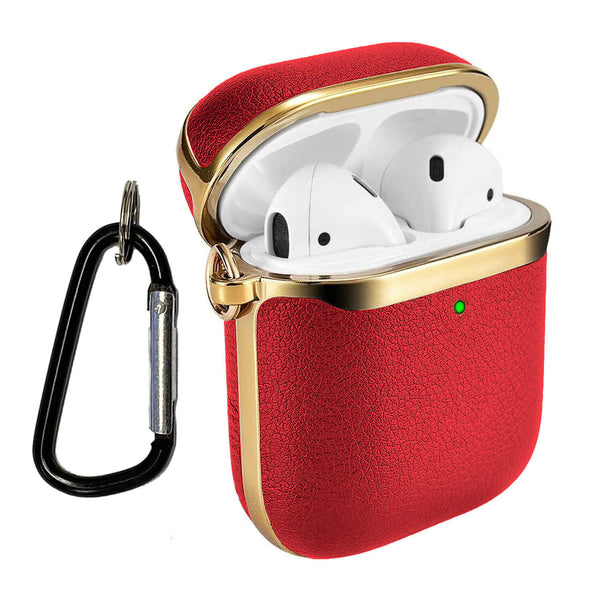 Apple AirPods Genuine Leather Case Tough On Red