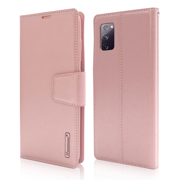 Hanman Samsung Galaxy S20 FE 5G Case Leather Rose Gold