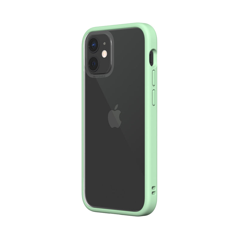 RhinoShield iPhone 12 mini Case MOD NX with Rim, Button, Frame, Clear Back Plate Mint Green