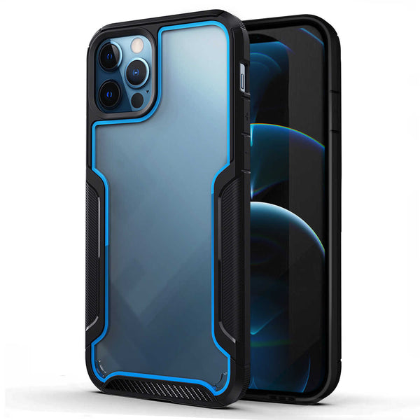 Tough On iPhone 12 Pro Max Case Armor Shield Black & Blue