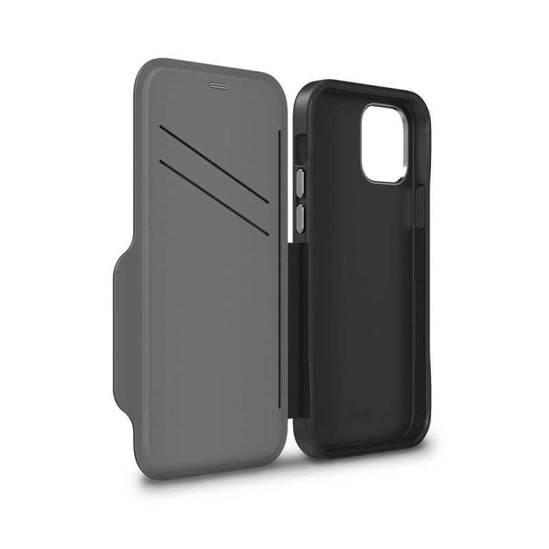 iPhone 12 Pro Max Monaco D3O Leather Wallet Case EFM Armour - Black & Space Grey