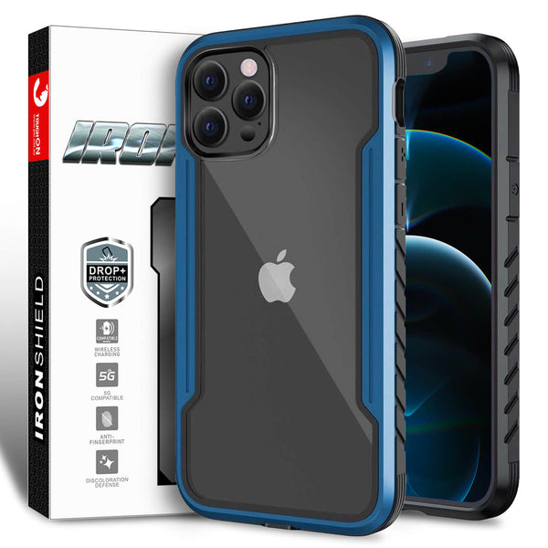 iPhone 12 / iPhone 12 Pro Case Tough On Iron Shield Blue