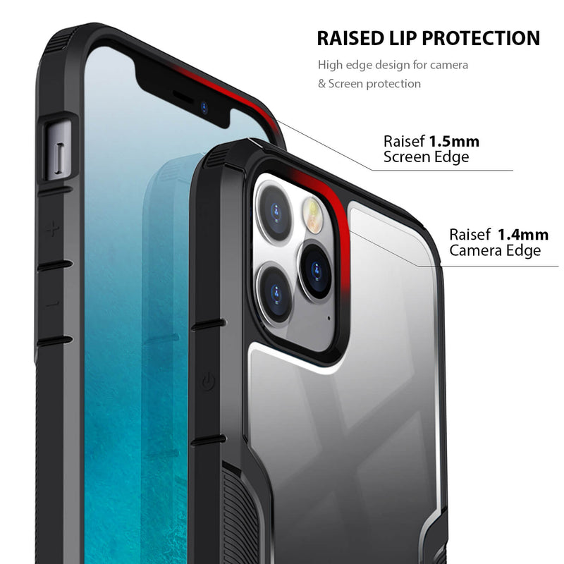 iPhone 12 / iPhone 12 Pro Case Tough On Armor Shield Black & Grey