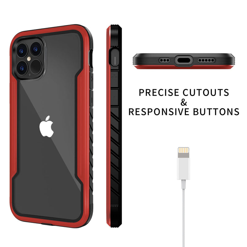 iPhone 12 / iPhone 12 Pro Case Tough On Iron Shield Red