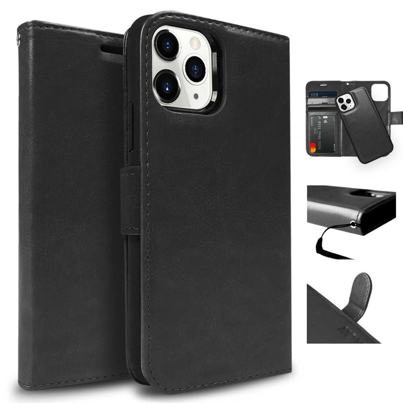 Tough On iPhone 12 Case Detachable Leather Black