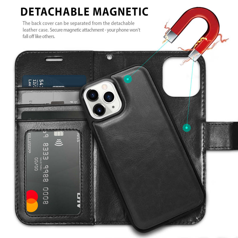 Tough On iPhone 12 mini Case Detachable Leather Black