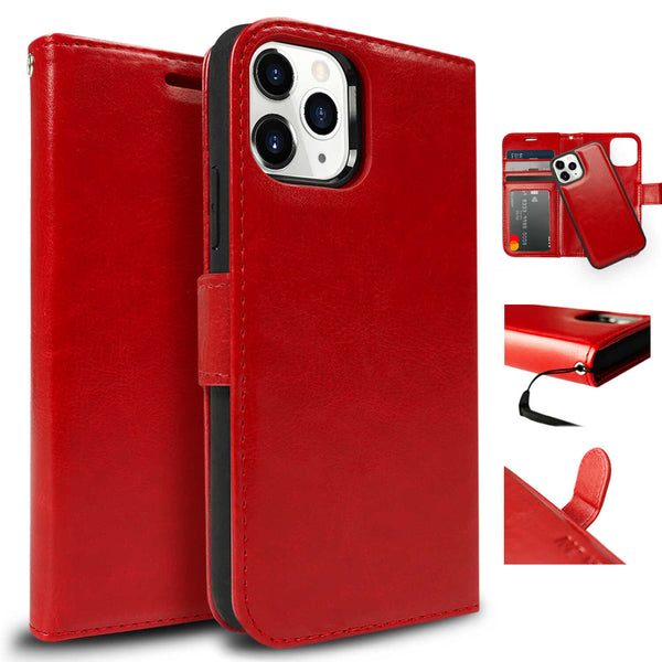 Tough On iPhone 12 Pro Case Detachable Leather Wine