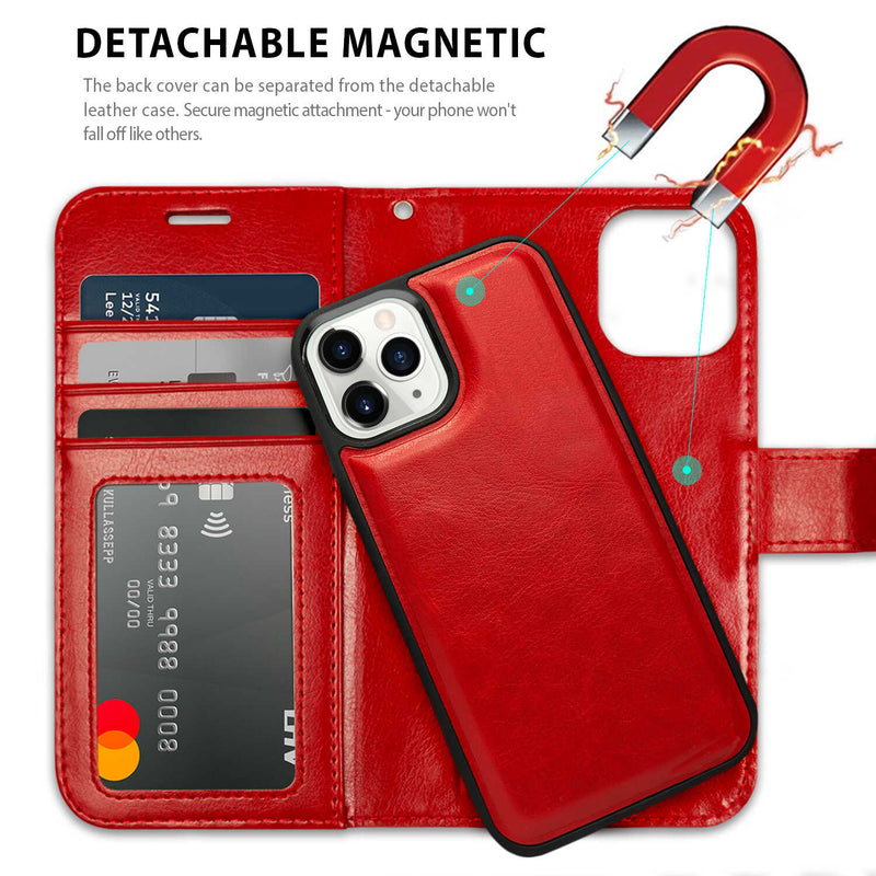 iPhone 12 mini Case Tough On Detachable Leather Wine Red