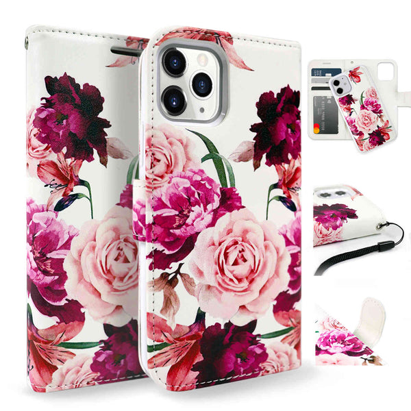 Tough On iPhone 12 Pro Case Detachable Leather Rose Flower