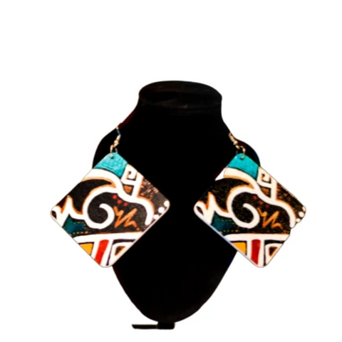 Image of Makola Wooden Pattern Printed Earrings - Afroish
