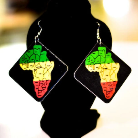 Image of Mombasa Square African Map Wooden Earrings - Afroish
