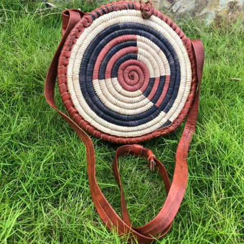 Apam Leather and Straw Messenger Bag - Afroish