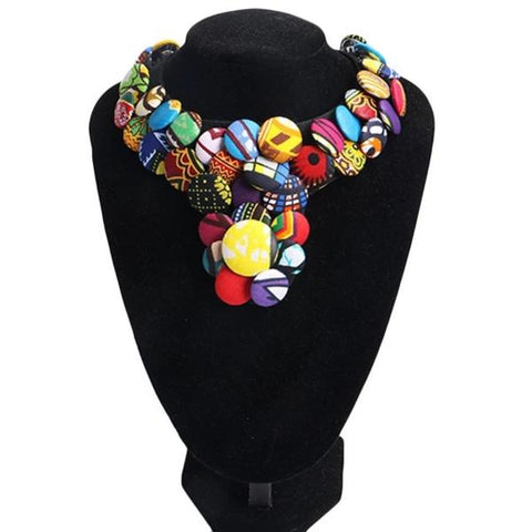 Image of Bamako Ankara Covered Button Choker Necklace - Afroish
