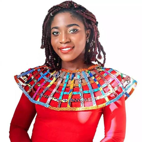 Image of Ibadan Ankara Net shawl - Afroish