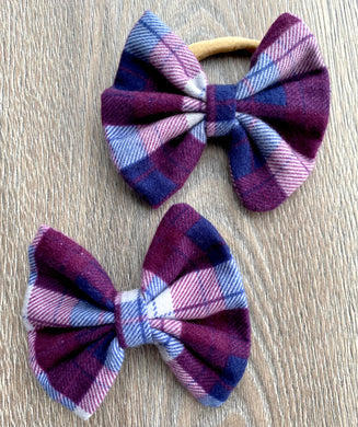 Grape and Berry Plaid Bow